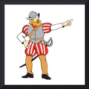 Spanish Conquistador Pointing Isolated Cartoon
