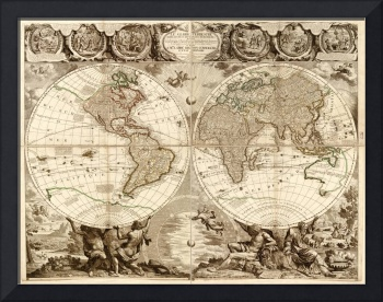 Vintage Map of The World (1708)