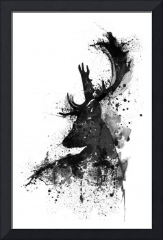 Black And White Deer Head Watercolor Silhouette