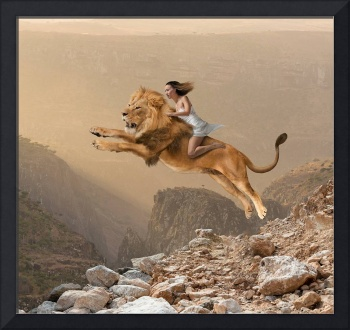 Woman-Riding-Lion