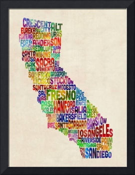 California Typography Text Map