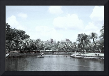 Digital Infra-red, small town garden and lake