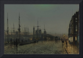 John Atkinson Grimshaw 1836-1893 HULL DOCKS AT NIG