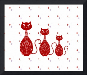 Red Cats Illustration