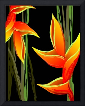 Digital painting of colourful flower