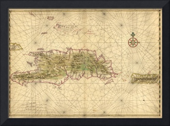 Map of the Islands of Hispaniola and Puerto Rico (