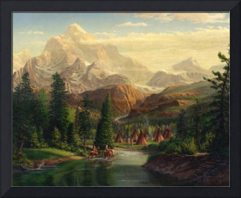 Native American Indians Trapper Western Mountain