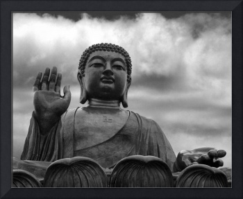 Tian Tan Buddha on Lantau Island in B/W