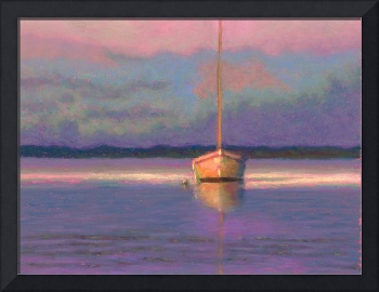 Solitude Sailboat Sunset Painting by Poucher