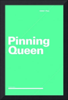 Pinning Queen typographic poster - Teal and White