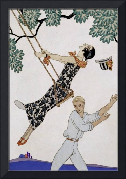 The Swing, 1920s by Georges Barbier