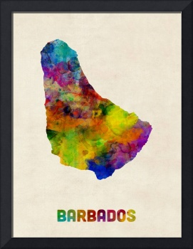 Barbados Watercolor Map