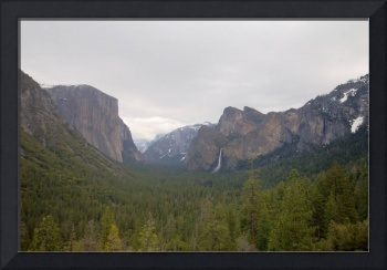 Yosemite Valley with Clouds and Snow in the High M