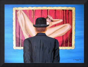 Man with bowler in front of nude