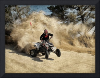 ATV on Dirt Road in Dust Cloud