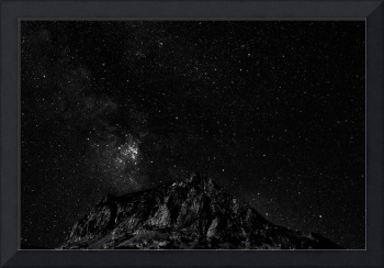 Milky Way core rising over Lundy Lake in B&W