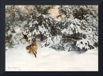 Bruno Liljefors~Winter Landscape with Fox and Houn