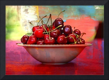 Cherries on the Table with Textures