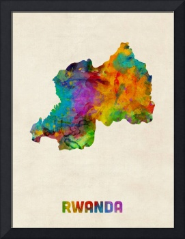 Rwanda Watercolor Map