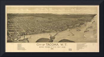 Vintage Pictorial Map of Tacoma Washington (1885)