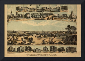 1882 Willimantic, CT Bird's Eye View Panoramic Map