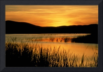 Sunset on sandhills lake in Nebraska