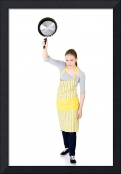 Angry young woman cooking , isolated on white