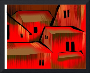 Digital painting of colourful building