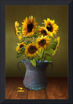 Sunflowers in Copper Bucket