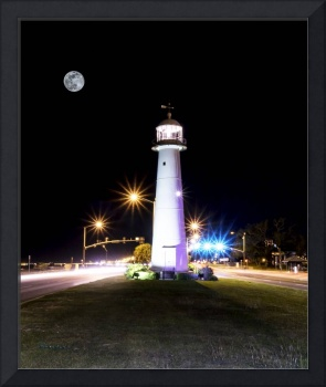 Moonlit Gulf Coast Lighthouse Biloxi MS 4256B
