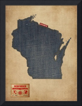 Wisconsin Map Denim Jeans Style