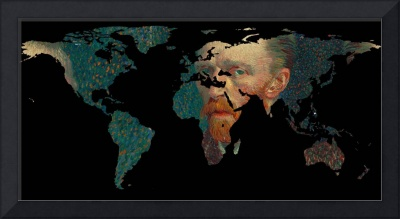 World Map Silhouette - Van Gogh Self Portrait
