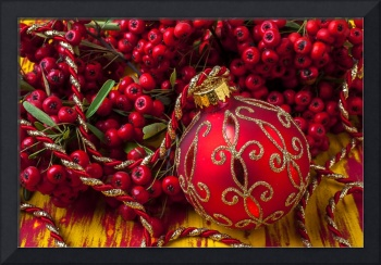Red ornament and berries