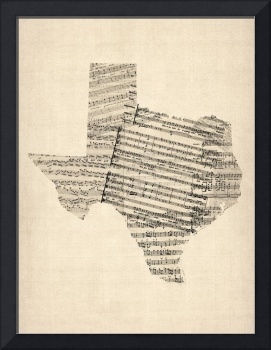 Old Sheet Music Map of Texas