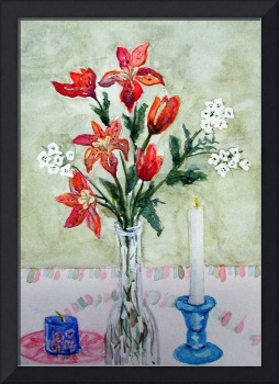 Red Lilies with Candles Andrea B Birthday card