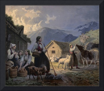 An idealized depiction of girl cow herders in 19th