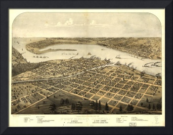 Vintage Pictorial Map of Port Huron MI (1867)
