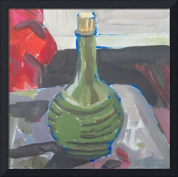 Painting of a Green Bottle