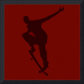 Skateboarder 1 . red maroon black (c)