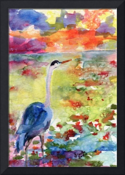 Blue Heron Sunset Watercolor by Ginette