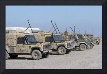 A group of Snatch Land Rover patrol vehicles used