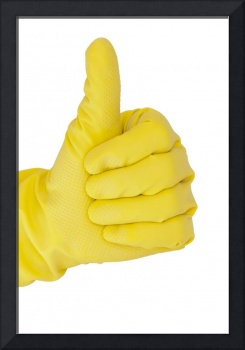 Hands in rubber yellow gloves
