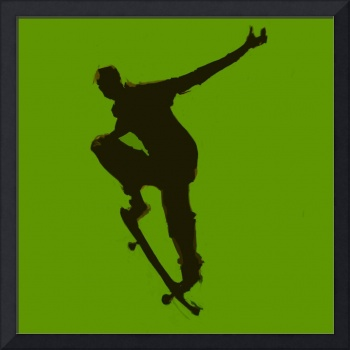 Skateboarder 1 . green gold black (c)
