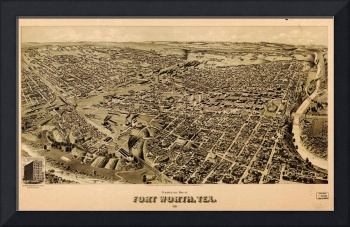 Vintage Map of Fort Worth Texas (1891)