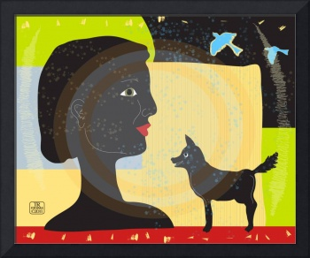 Woman with dog fine art illustration