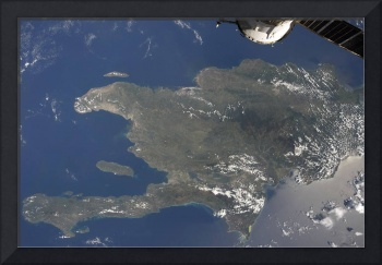 A view of the Caribbean island of Hispaniola from