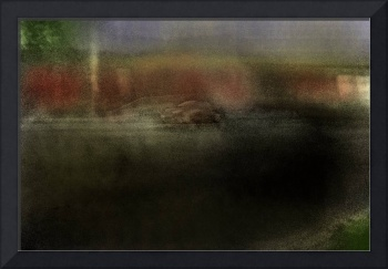 car and overpass, hand colored photograph