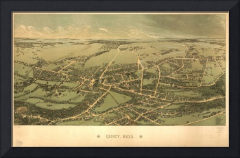 1877 Quincy, MA Birds Eye View Panoramic Map