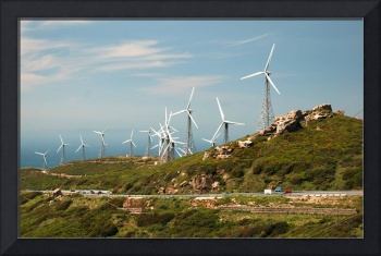 Mountain landscape with modern windmills