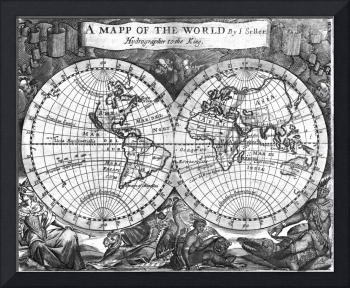Black and White World Map (1682)